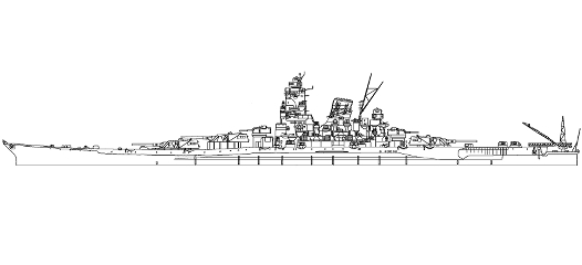 日本海軍戦艦大和側面図〜Imperial Japanese Navy battleship Yamato side view